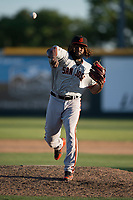 San Jose Giants relief pitcher Rodolfo Martinez (40) delivers a pitch to the plate during a California League game against the Modesto Nuts at John Thurman Field on May 9, 2018 in Modesto, California. San Jose defeated Modesto 9-5. (Zachary Lucy/Four Seam Images)