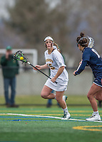 25 April 2015: University of Vermont Catamount Attacker Alex Bernier, a Sophomore from Falmouth, Maine, in action against the University of New Hampshire Wildcats at Virtue Field in Burlington, Vermont. The Lady Catamounts defeated the Lady Wildcats 12-10 in the final game of the season, advancing to the America East playoffs. Mandatory Credit: Ed Wolfstein Photo *** RAW (NEF) Image File Available ***