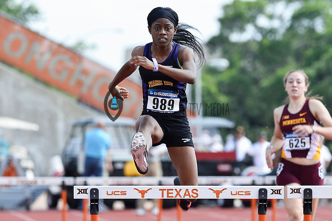 Deonca Bookman of Prairie View competes in 400 meter hurdles prelims during West Preliminary Track and Field Championships, Friday, May 29, 2015 in Austin, Tex. (Mo Khursheed/TFV Media via AP Images)