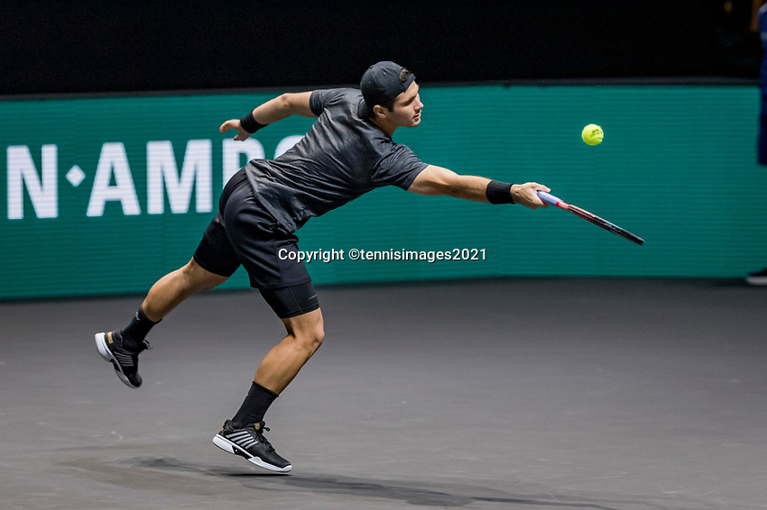 Rotterdam, The Netherlands, 27 Februari 2021, ABNAMRO World Tennis Tournament, Ahoy, Qualyfying match: Marcos  Giron (USA)<br /> Photo: www.tennisimages.com/henkkoster