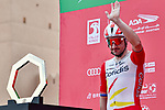 Elia Viviani (ITA) Cofidis at sign on before the start of Stage 1 of the 2021 UAE Tour the ADNOC Stage running 176km from Al Dhafra Castle to Al Mirfa, Abu Dhabi, UAE. 21st February 2021.  <br /> Picture: LaPresse/Gian Mattia D'Alberto | Cyclefile<br /> <br /> All photos usage must carry mandatory copyright credit (© Cyclefile | LaPresse/Gian Mattia D'Alberto)