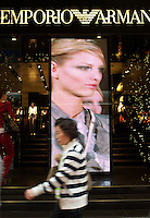 Emporio Armani in Hong Kong.  Main-land Chinese spend fortunes in Hong Kong where luxury goods and most other items are often 15 - 20 percent cheaper than China.\