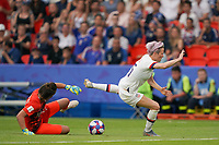 PARIS, FRANCE - JUNE 28: Sarah Bouhaddi #16, Megan Rapinoe #15 prior to a 2019 FIFA Women's World Cup France quarter-final match between France and the United States at Parc des Princes on June 28, 2019 in Paris, France.