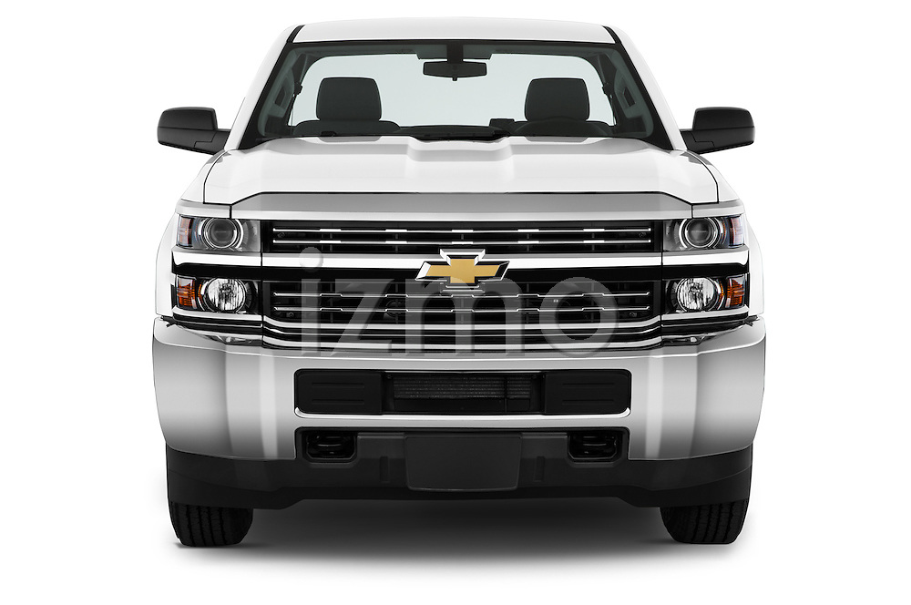 Car photography straight front view of a 2015 Chevrolet Silverado 2500 Hd Work Truck Regular Cab Lwb 2 Door Pickup 2WD Front View