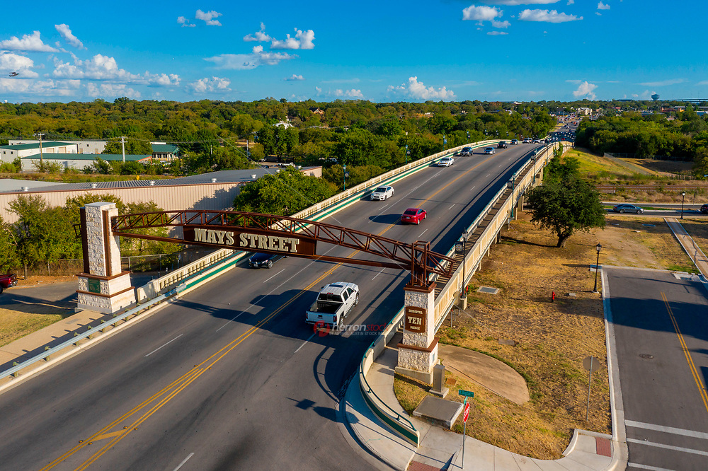 Aerial image of the Mays Street Bridge. The City of Round Rock renovated the Mays Street Bridge in Baylor colors to commemorate the 'Immortal Ten.' They were killed when their bus was hit by a train on the bridge on Jan. 22, 1927. Ten of the 21 people on board the bus died.