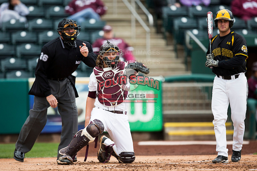 Luke Voit #30 of the Missouri State Bears asks for the first base umpire's call during a game against the Wichita State Shockers at Hammons Field on May 4, 2013 in Springfield, Missouri. (David Welker/Four Seam Images)
