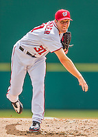 13 March 2016: Washington Nationals pitcher Max Scherzer on the mound during a pre-season Spring Training game against the St. Louis Cardinals at Space Coast Stadium in Viera, Florida. The teams played to a 4-4 draw in Grapefruit League play. Mandatory Credit: Ed Wolfstein Photo *** RAW (NEF) Image File Available ***