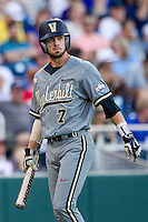 Vanderbilt Commodores shortstop Dansby Swanson (7) walks to the dugout after striking out during the NCAA College baseball World Series against the TCU Horned Frogs on June 16, 2015 at TD Ameritrade Park in Omaha, Nebraska. Vanderbilt defeated TCU 1-0. (Andrew Woolley/Four Seam Images)