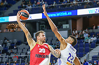 13th October 2021; Wizink Center; Madrid, Spain; Turkish Airlines Euroleague Basketball; game 3; Real Madrid versus AS Monaco; Donatas Motiejunas (AS Monaco) takes with a hook shot in the face of Walter Tavares (Real Madrid)