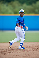 GCL Blue Jays Alberto Rodriguez (33) running the bases during a Gulf Coast League game against the GCL Tigers West on August 3, 2019 at the Englebert Complex in Dunedin, Florida.  GCL Blue Jays defeated the GCL Tigers West 4-3.  (Mike Janes/Four Seam Images)
