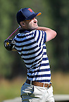 Justin Timberlake tees off during an American Century Championship practice round at Edgewood Tahoe Golf Course in Stateline, Nev., on Wednesday, July 15, 2015. <br /> Photo by Cathleen Allison