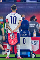5th September 2021; Nashville, TN, USA;  United States forward Christian Pulisic and the Volkswagen custom robot CHAMP look on during the national anthem during a CONCACAF World Cup qualifying match between the United States and Canada on September 5, 2021 at Nissan Stadium in Nashville, TN.