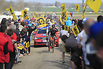 Ralf Matzka (GER) Bora-Argon 18 and Adam Blythe (GBR) Orica-GreenEdge tackle Sector 10 Mons-en-Pevele during the 113th edition of the Paris-Roubaix 2015 cycle race held over the cobbled roads of Northern France. 12th April 2015.<br /> Photo: Eoin Clarke www.newsfile.ie