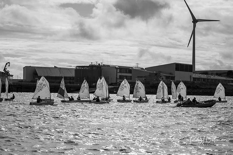 The Junior Optimist Munster Championship fleet raced on the Oyster Bank, conveniently located close to the Paddy's Point slipway