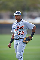 Detroit Tigers Franklin Navarro (73) during practice before a minor league Spring Training game against the New York Yankees on March 22, 2017 at the Yankees Complex in Tampa, Florida.  (Mike Janes/Four Seam Images)