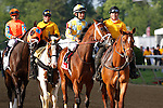 May 17, 2014. #2 General A Rod (left), Javier Castellano up, and #1 Dynamic Impact (right), Miguel Mena up) take part in the Preakness post parade; California Chrome, Victor Espinoza up, wins the 139th Preakness Stakes at Pimlico Race Course in Baltimore, MD. ©Joan Fairman Kanes/ESW/CSM