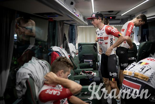 Carl Fredrik Hagen (NOR/Lotto-Soudal) on the teambus at the stage start, prepping for Stage 14: San Vicente de la Barquer to Oviedo (188km)<br /> <br /> La Vuelta 2019<br /> <br /> ©kramon