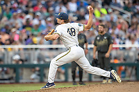 Michigan Wolverines pitcher Jack Weisenburger (48) delivers a pitch to the plate against the Vanderbilt Commodores during Game 2 of the NCAA College World Series Finals on June 25, 2019 at TD Ameritrade Park in Omaha, Nebraska. Vanderbilt defeated Michigan 4-1. (Andrew Woolley/Four Seam Images)
