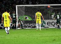 BOGOTA - COLOMBIA -25-02-2017: Andres Uribe (Fuera de Cuadro) jugador de Atletico Nacional, anota gol a La Equidad, durante partido entre La Equidad y Atletico Nacional, por la fecha 5 de la Liga Aguila I-2017, jugado en el estadio Nemesio Camacho El Campin de la ciudad de Bogota. / Andres Uribe (Out of Frame), player of Atletico Nacional, scored goal to La Equidad,  during a match between La Equidad and Atletico Nacional, for the  date 5 of the Liga Aguila I-2017 at the Nemesio Camacho El Campin Stadium in Bogota city, Photo: VizzorImage  / Luis Ramirez / Staff.