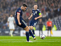 9th October 2021; Hampden Park, Glasgow, Scotland; FIFA World Cup football qualification, Scotland versus Israel;  John McGinn shoots and scores for 1-1 in the 29th minute
