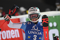 29th December 2020; Semmering, Austria; FIS Womens Giant Slalom World Cup Skiing;  race winner Michelle Gisin of Switzerland during the winners ceremony for women Slalom competition of FIS ski alpine world cup at the Panoramapiste in Semmering