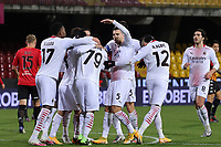 Franck Kessie of AC Milan celebrates with team mates after scoring a goal during the Serie A football match between Benevento Calcio and AC Milan at stadio Ciro Vigorito in Benevento (Italy), January 03rd, 2021. <br /> Photo Cesare Purini / Insidefoto
