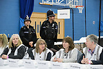 © Joel Goodman - 07973 332324 . 23/02/2017 . Stoke-on-Trent , UK . Count staff and police at to the count in the by-election for the constituency of Stoke-on-Trent Central , at Fenton Manor Sports Complex . Photo credit : Joel Goodman