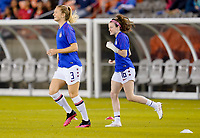 HOUSTON, TX - FEBRUARY 03: Samantha Mewis #3 and Rose Lavelle #16 of the United States warming up during a game between Costa Rica and USWNT at BBVA Stadium on February 03, 2020 in Houston, Texas.