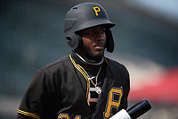 Pittsburgh Pirates Juan Jerez (24) on deck during a Florida Instructional League game against the Detroit Tigers on October 16, 2020 at Joker Marchant Stadium in Lakeland, Florida.  (Mike Janes/Four Seam Images)