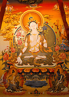 The lamas who paint thangkas use painting as a form of spiritual education and can spend up to 9 months on each canvas..Thangkas are seen hanging in every temple, monastery and family shrine in Tibet and Nepal.