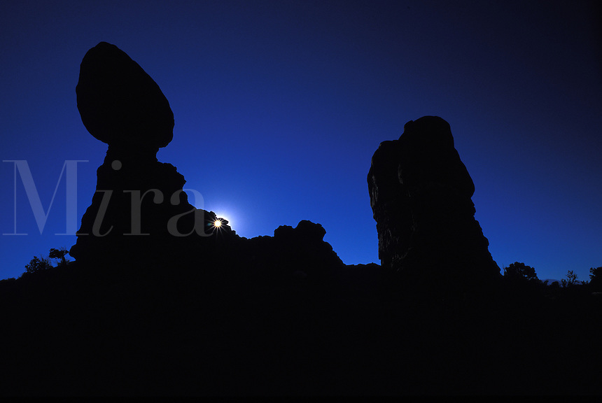 Silhouette of Balanced Rock Sandstone Formation at Arches National Park Utah