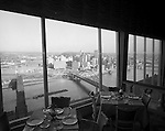 Pittsburgh PA:  View of Pittsburgh from the LeMont Restaurant on Mount Washington.