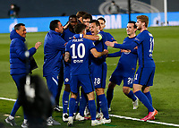 April 27th 2021; Alfredo Di Stefano Stadium, Madrid, Spain; UEFA Champions League. Chelsea Players celebrate their goal from Pulisic  during the Champions League match, semifinals between Real Madrid and Chelsea FC played at Alfredo Di Stefano Stadium
