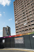 Demolition of Fielding  House, and Bronte House, 18 story blocks on South Kilburn Estate, Brent, by Network Housing as part of a £600 million regeneration programme on the estate.