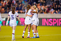 HOUSTON, TX - JANUARY 31: Christen Press #20 of the United States celebrates a goal with teammates Lindsey Horan #9 and Jessica McDonald #14 during a game between Panama and USWNT at BBVA Stadium on January 31, 2020 in Houston, Texas.