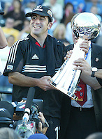 14 November 2004: Alecko Eskandarian with a trophy after DC United defeated Kansas City Wizards, 3-2 at Home Depot Center in Carson, California...Mandatory Credit: Michael Pimentel / www.internationalsportsimages.com..