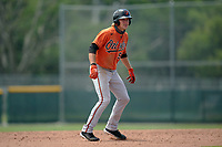 Baltimore Orioles Gunnar Henderson (93) leads off second base during a Minor League Spring Training game against the Pittsburgh Pirates on April 21, 2021 at Pirate City in Bradenton, Florida.  (Mike Janes/Four Seam Images)
