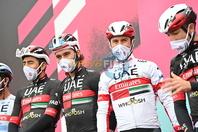 UAE Team Emirates at sign on before the start of Stage 13 of the 103rd edition of the Giro d'Italia 2020 running 192km from Cervia to Monselice, Italy. 16th October 2020.  <br /> Picture: LaPresse/Gian Mattia D'Alberto | Cyclefile<br /> <br /> All photos usage must carry mandatory copyright credit (© Cyclefile | LaPresse/Gian Mattia D'Alberto)