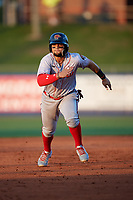 Florida Fire Frogs Jefrey Ramos (15) running the bases during a Florida State League game against the St. Lucie Mets on April 12, 2019 at First Data Field in St. Lucie, Florida.  Florida defeated St. Lucie 10-7.  (Mike Janes/Four Seam Images)