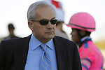 02 OCT 2010: Jerry Hollendorfer, trainer and part owner of Blind Luck, after the filly's second-place finish in the Gr. II Cotillion Stakes at Parx Racing at Philadelphia Park, Bensalem, PA. At right is her jockey, Joel Rosario. (Joan Fairman Kanes/Eclipse Sportswire)