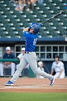Tulsa Drillers infielder Gavin Lux (10) connects on a pitch on May 13, 2019, at Arvest Ballpark in Springdale, Arkansas. (Jason Ivester/Four Seam Images)
