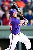 Catcher Kyle Wilkie (10) of the Clemson Tigers bats in the Reedy River Rivalry game against the South Carolina Gamecocks on Saturday, March 3, 2018, at Fluor Field at the West End in Greenville, South Carolina. Clemson won, 5-1. (Tom Priddy/Four Seam Images)