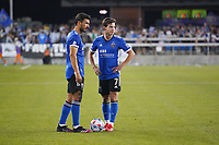 SAN JOSE, CA - JULY 24: Oswaldo Alanis #4 of the San Jose Earthquakes talks with Carlos Fierro #7 during a game between Houston Dynamo and San Jose Earthquakes at PayPal Park on July 24, 2021 in San Jose, California.