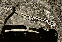 historical aerial photograph San Diego International Airport, Lindbergh Field, California, 1966