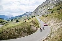 race leaders Pavel Sivakov (RUS/Ineos) & Julian Alaphilippe (FRA/Deceuninck-QuickStep) descending the Col de la Colombière<br /> <br /> Stage 5: Megève to Megève (154km)<br /> 72st Critérium du Dauphiné 2020 (2.UWT)<br /> <br /> ©kramon