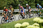 The chase group including Mikel Landa (ESP) Bahrain-McLaren, Sepp Kuss (USA) Team Jumbo-Visma, Thibaut Pinot (FRA) Goupama-FDJ and Romain Bardet (FRA) AG2R during Stage 5 of Criterium du Dauphine 2020, running 153.5km from Megeve to Megeve, France. 16th August 2020.<br /> Picture: ASO/Alex Broadway | Cyclefile<br /> All photos usage must carry mandatory copyright credit (© Cyclefile | ASO/Alex Broadway)