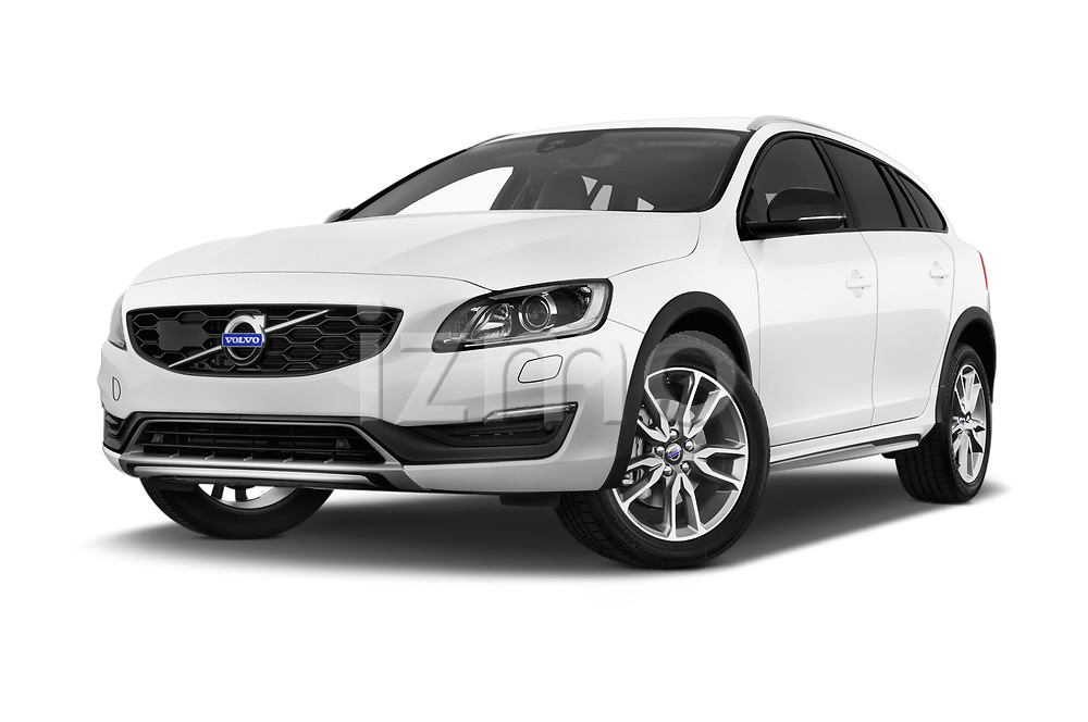 Stock pictures of low aggressive front three quarter view of 2017 Volvo V60-Cross-Country Summum 5 Door Wagon Low Aggressive