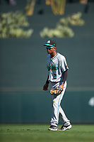 Salt River Rafters second baseman Jose Devers (2), of the Miami Marlins organization, during the Arizona Fall League Championship Game against the Surprise Saguaros on October 26, 2019 at Salt River Fields at Talking Stick in Scottsdale, Arizona. The Rafters defeated the Saguaros 5-1. (Zachary Lucy/Four Seam Images)