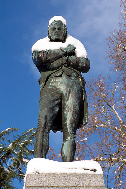 "Snow Covered ""Robert Burns"" Statue in Stanley Park, Vancouver, BC, British Columbia, Canada, Winter"