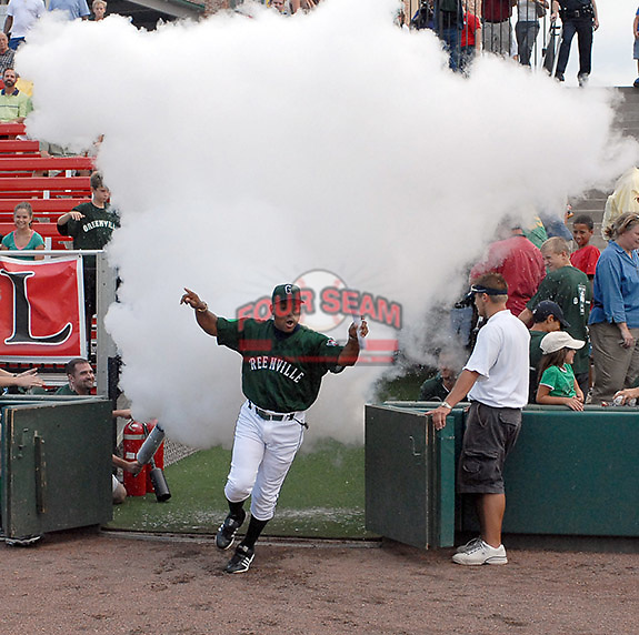 8 Aug 2006: Photo of the Greenville Drive, the Boston Red Sox affiliate of the Class A South Atlantic League, in a game against the Hagerstown Suns, a Baltimore Orioles affiliate. Photo by Tom Priddy. All rights reserved. Contact tom@tompriddy.com or http://www.tompriddy.com.